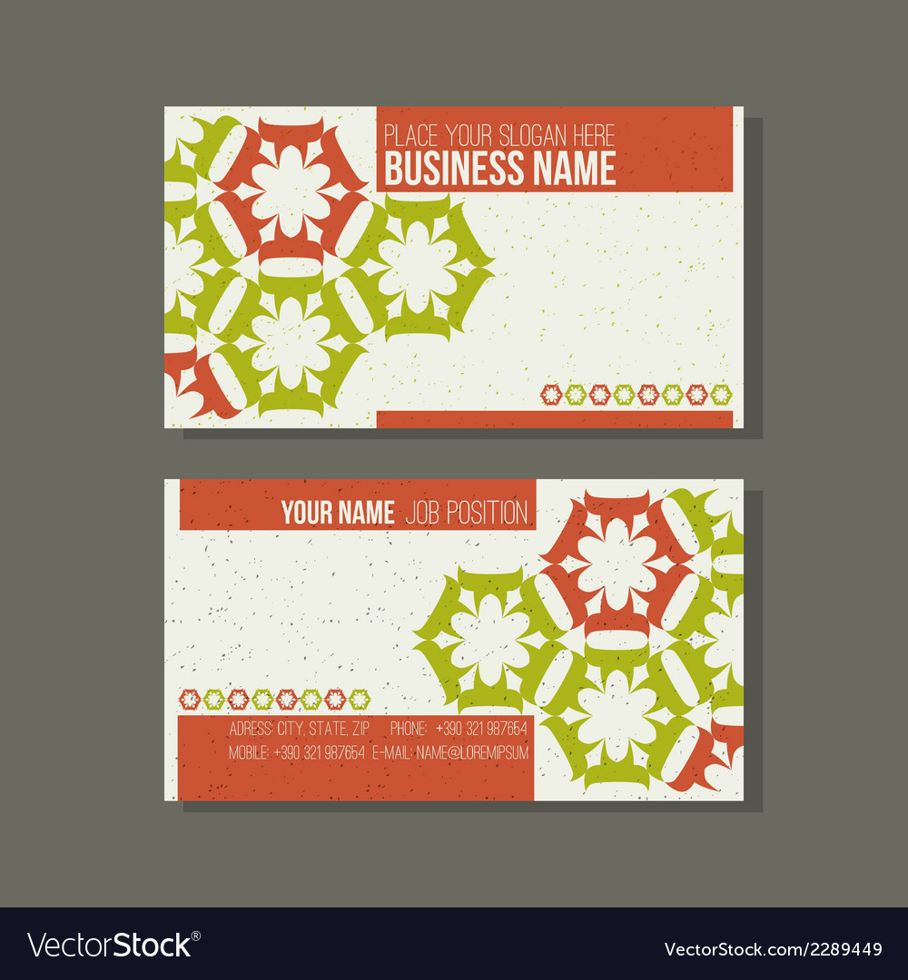 Business card template floral green and orange vector | Price: 1 Credit (USD $1)