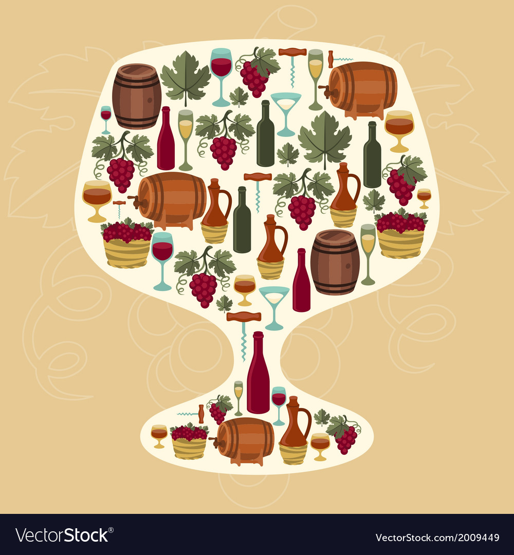Concept with objects winemaking in shape of glass vector | Price: 1 Credit (USD $1)