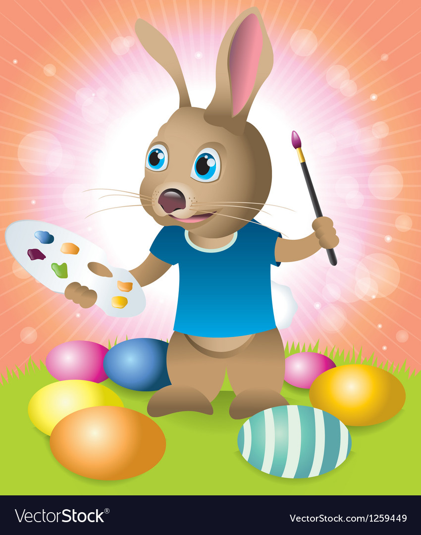 Easter bunny painting eggs vector | Price: 1 Credit (USD $1)