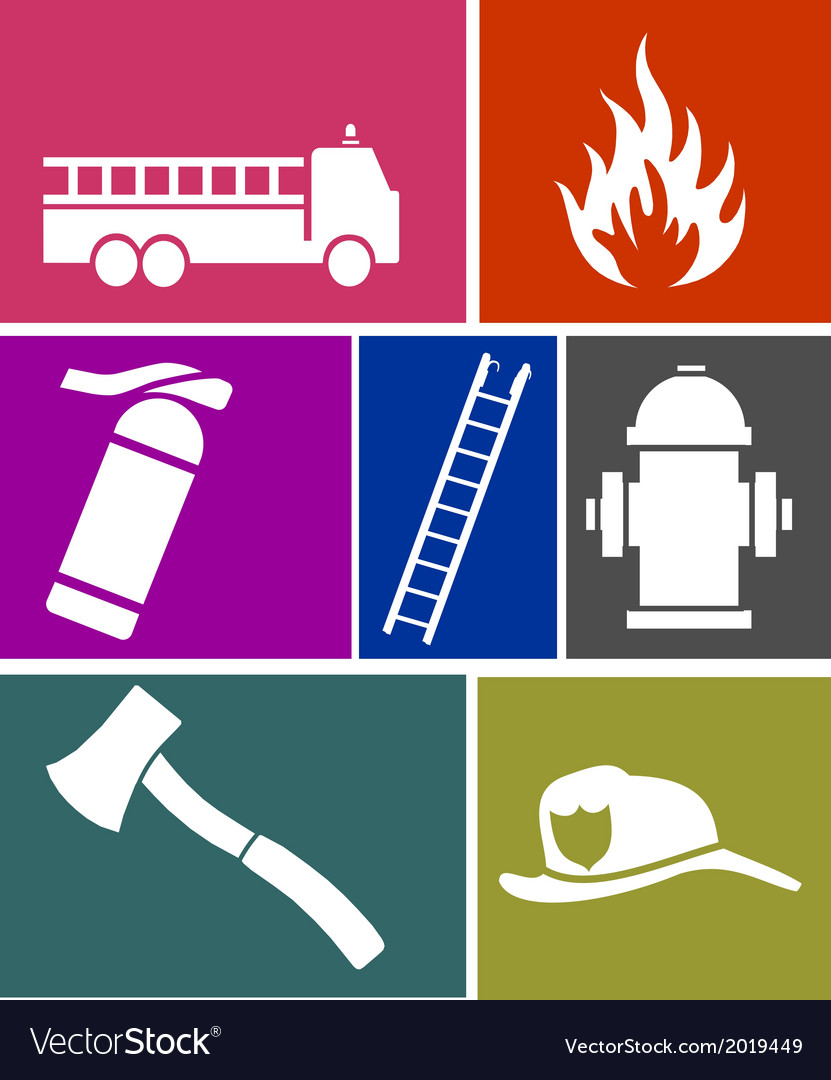 Firefighter flat icons set vector | Price: 1 Credit (USD $1)