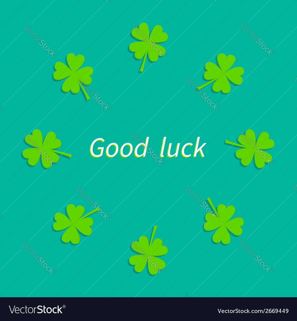 Four leaf clover round frame good luck flat design vector | Price: 1 Credit (USD $1)
