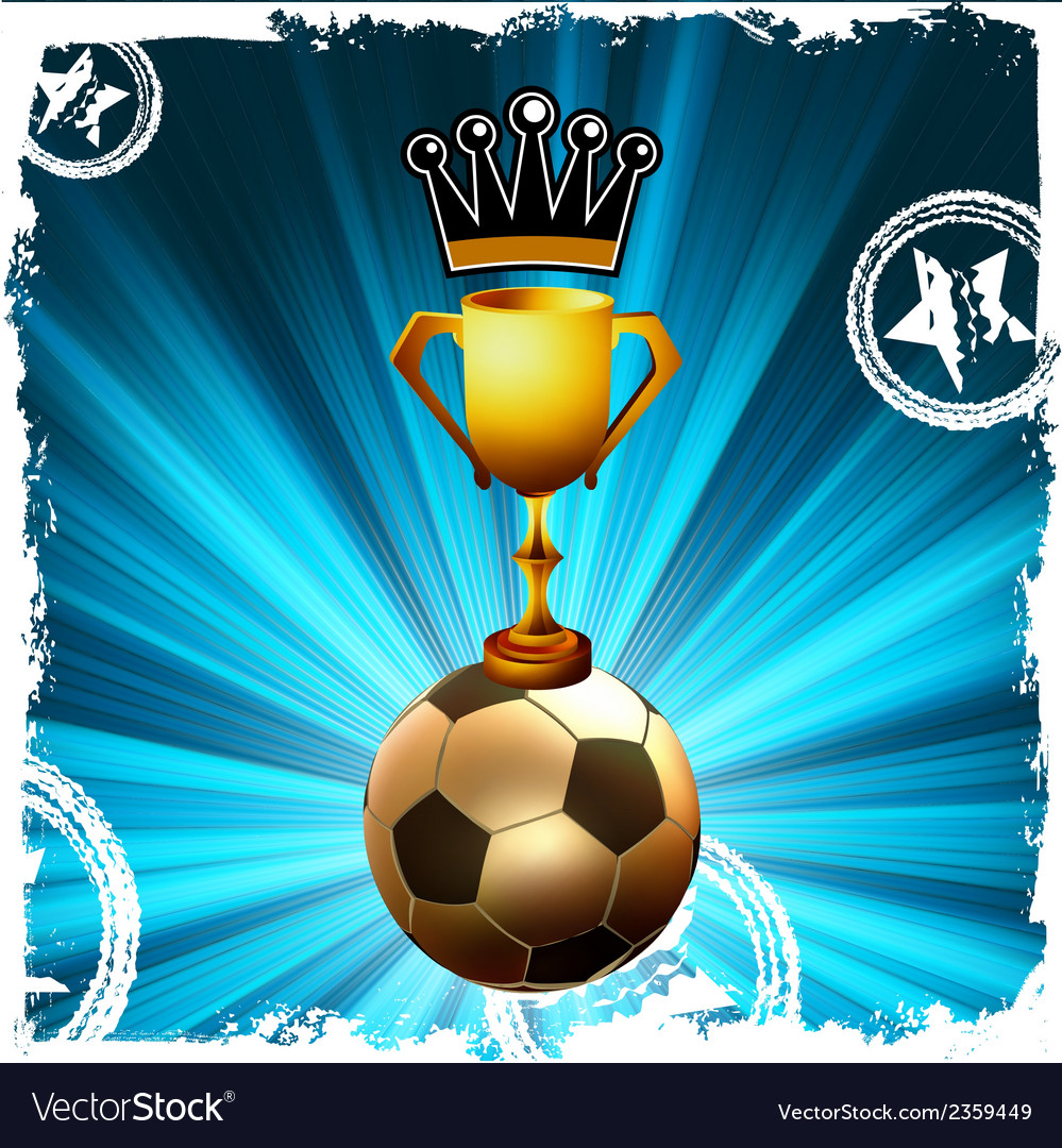 Gold football trophy and crown behind flash eps8 vector | Price: 1 Credit (USD $1)