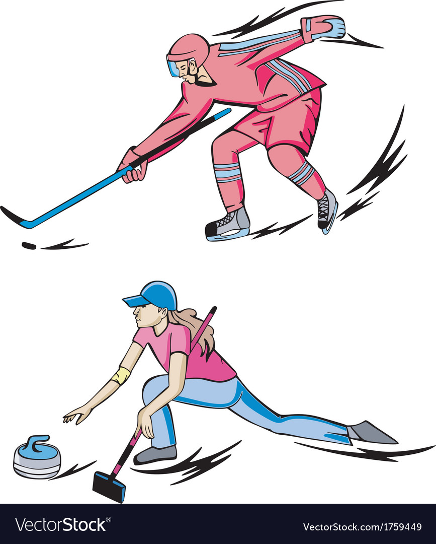 Ice hockey and curling vector | Price: 1 Credit (USD $1)