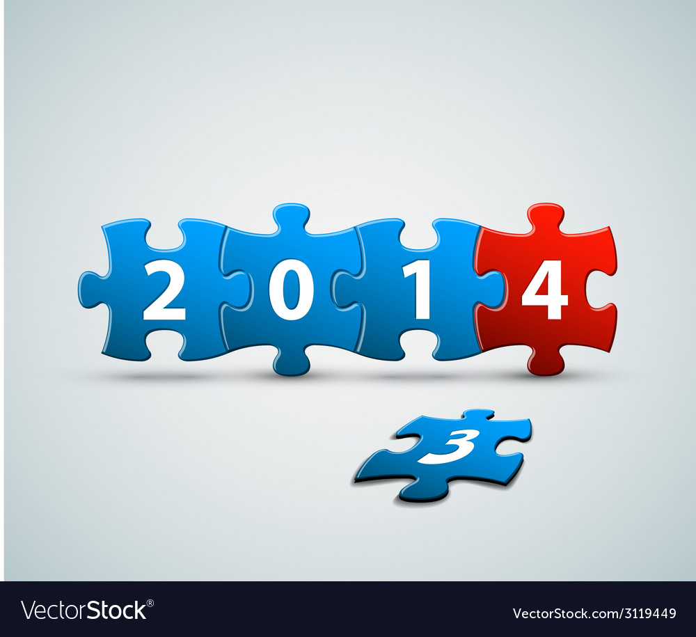 New year 2014 card made from puzzle pieces vector | Price: 1 Credit (USD $1)