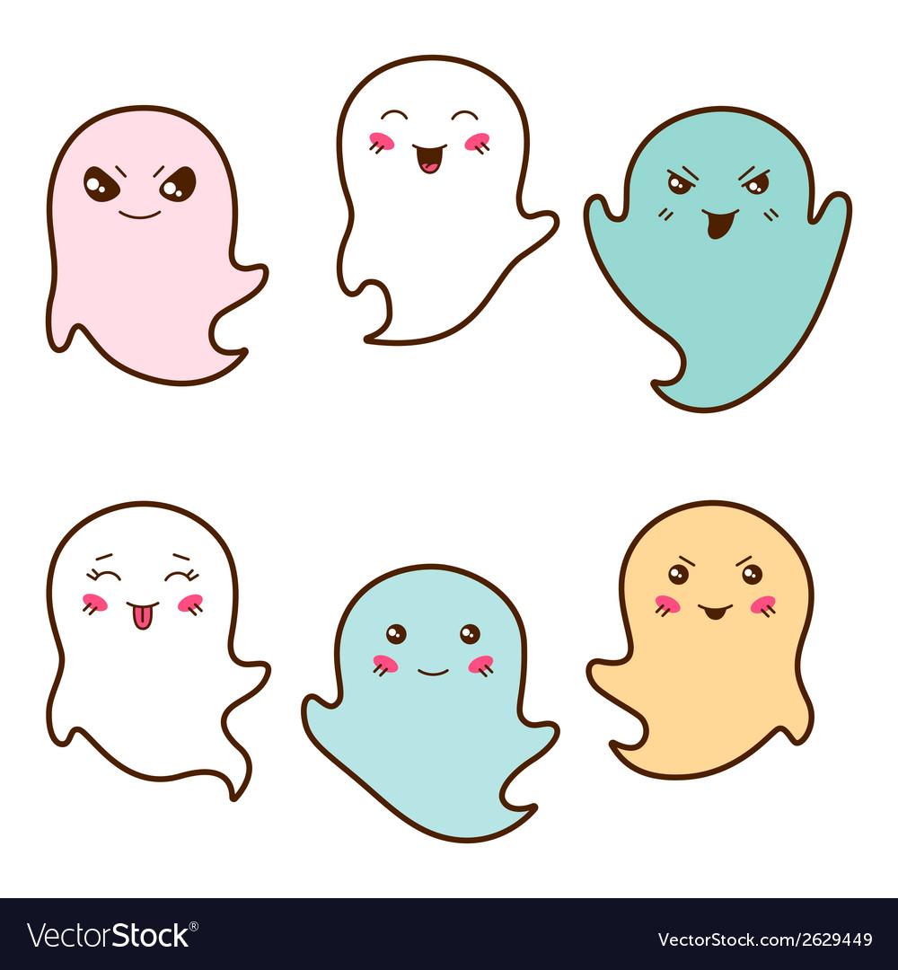 Set of kawaii ghosts with different facial vector | Price: 1 Credit (USD $1)