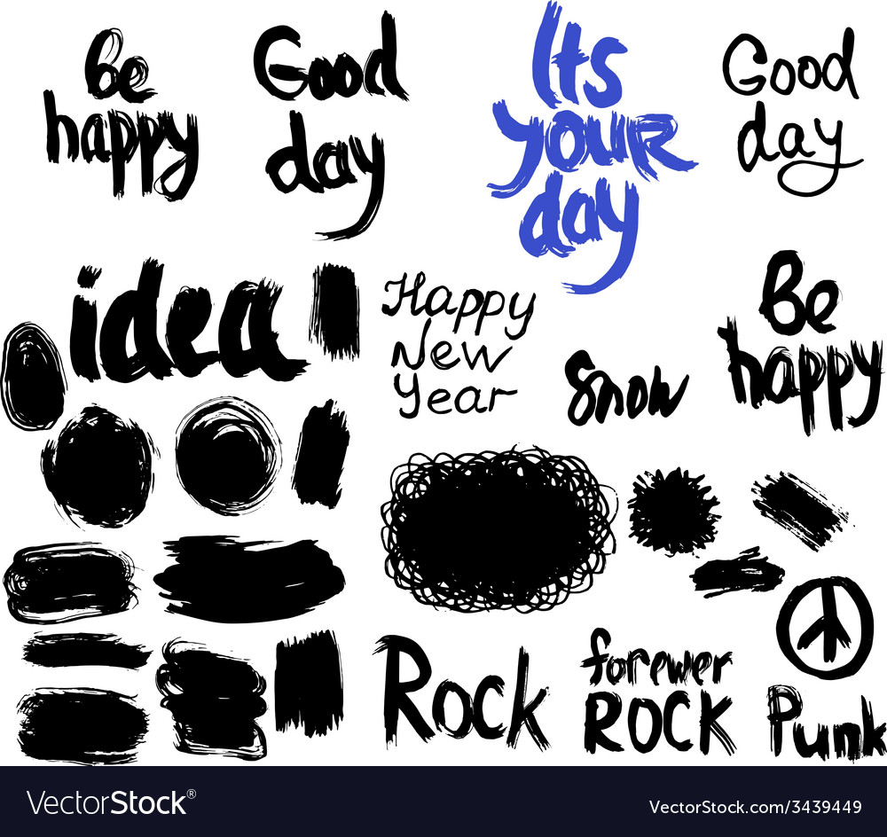 Set of words and labels freehand drawing grunge vector | Price: 1 Credit (USD $1)