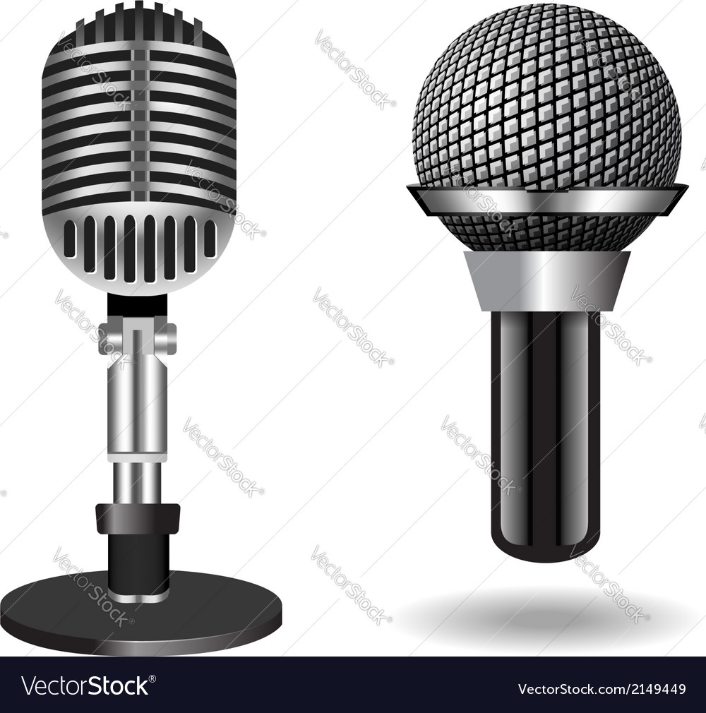Vintage silver microphones vector | Price: 1 Credit (USD $1)