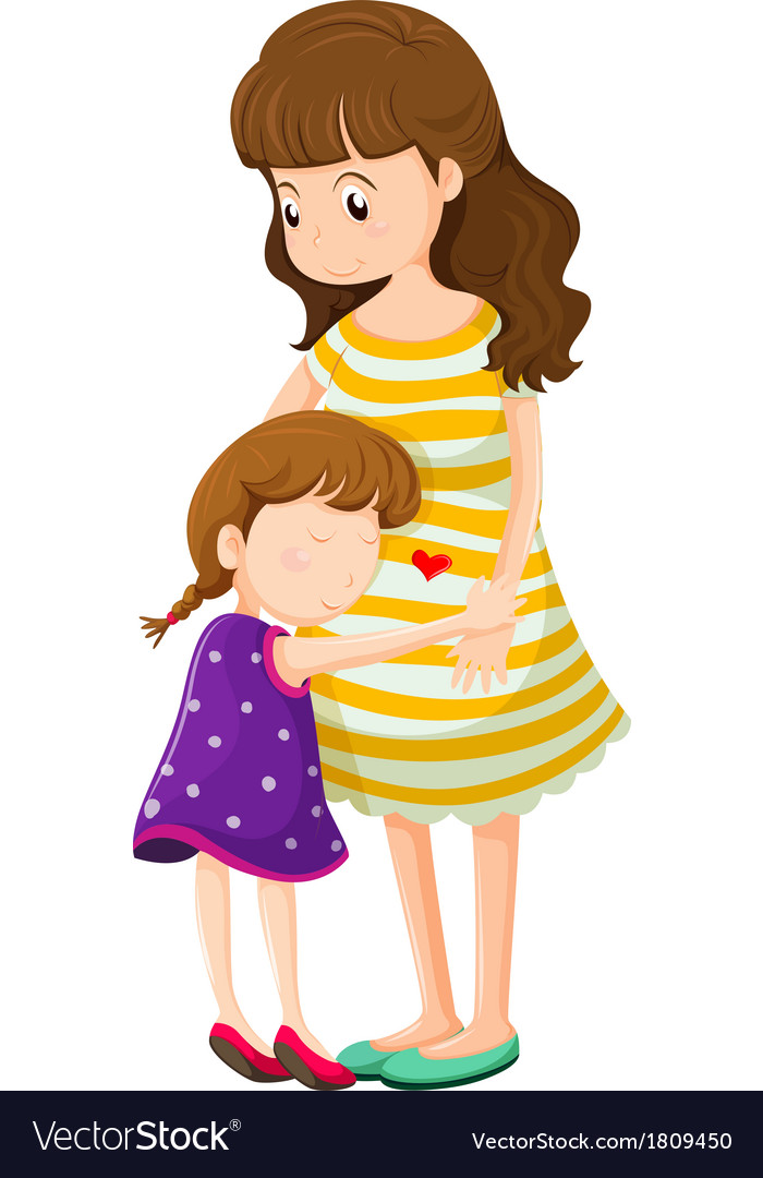 A daughter hugging her mother vector | Price: 1 Credit (USD $1)