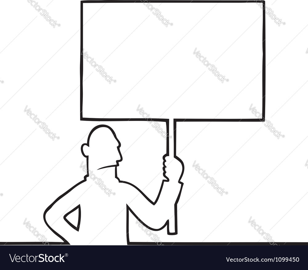 Angry man holding a protest sign vector | Price: 1 Credit (USD $1)