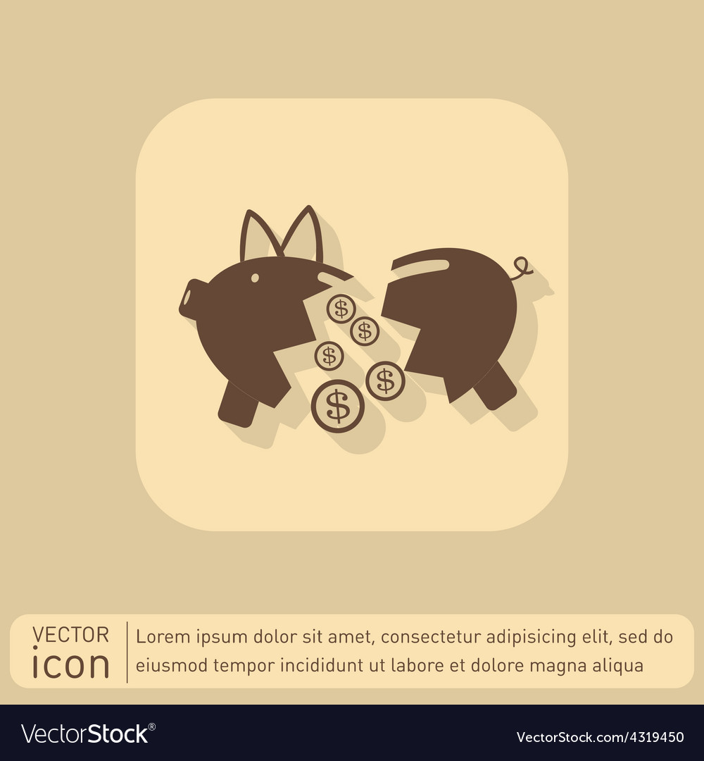 Broken piggy bank icon vector | Price: 1 Credit (USD $1)