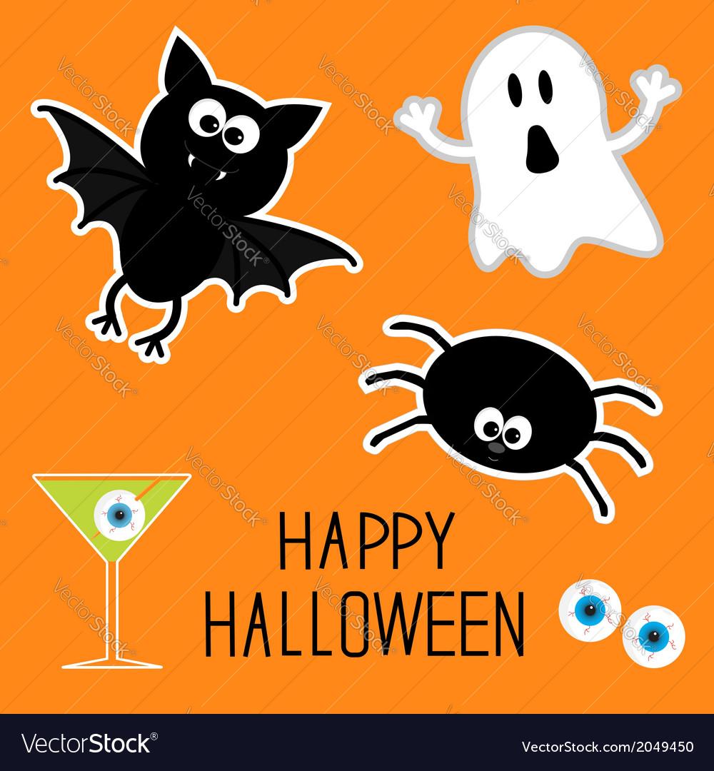 Happy halloween set ghost bat spider eyes martini vector | Price: 1 Credit (USD $1)