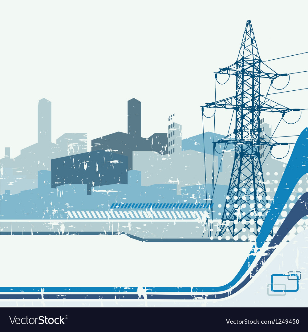 High-voltage tower silhouette on urban background vector   Price: 1 Credit (USD $1)