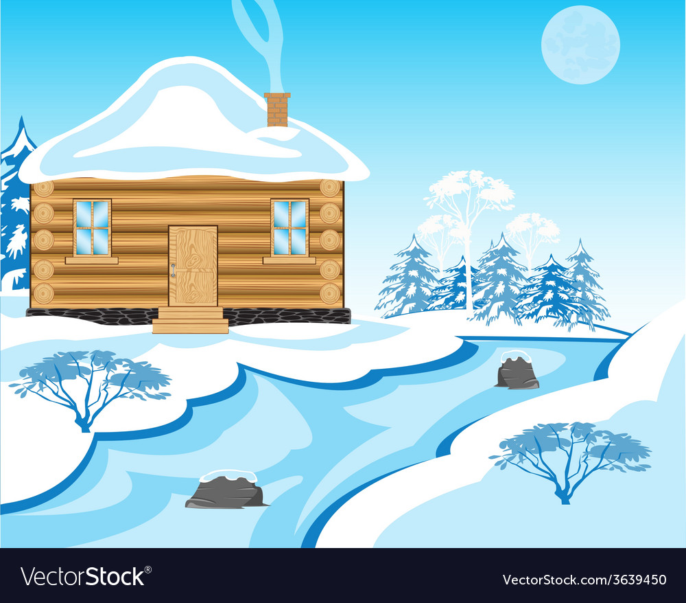 House beside in winter yard vector | Price: 1 Credit (USD $1)