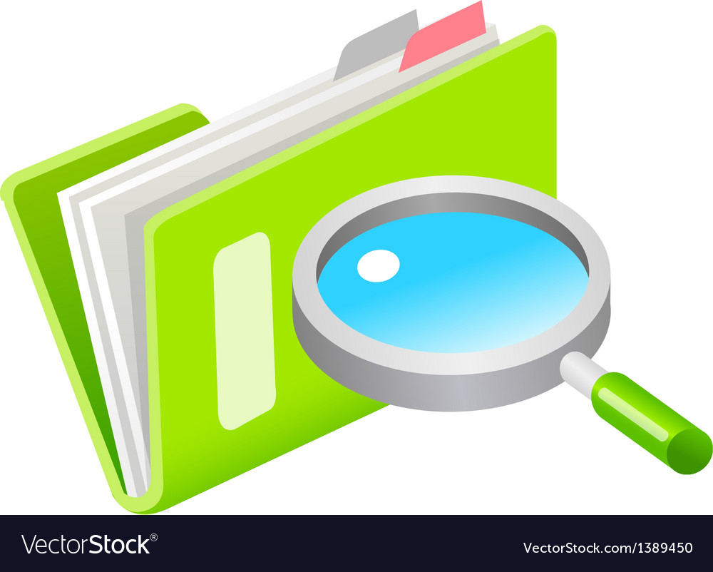 Icon file and magnifying glass vector | Price: 1 Credit (USD $1)