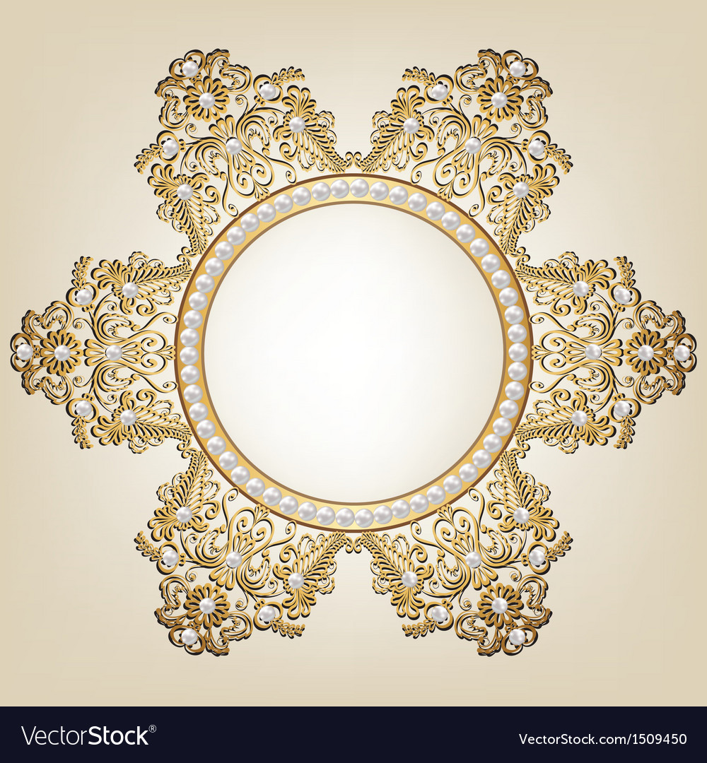 Jewelry gold frame with pearls on beige background vector | Price: 1 Credit (USD $1)