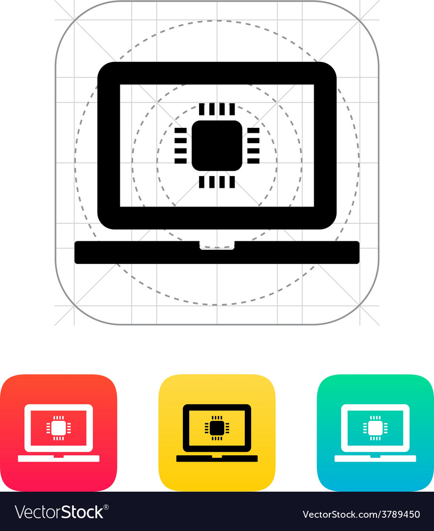 Laptop cpu icon vector | Price: 1 Credit (USD $1)