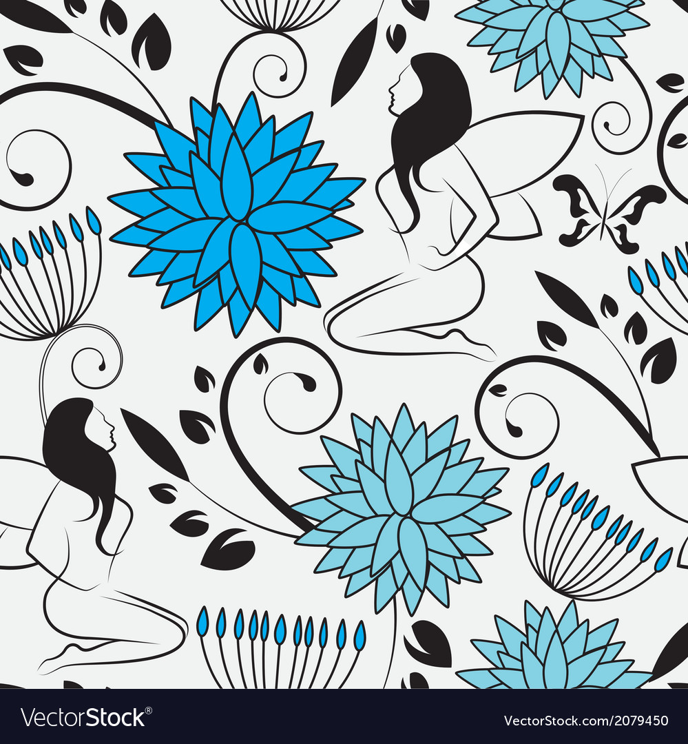 Seamless background with flowers swirls and fairi vector | Price: 1 Credit (USD $1)