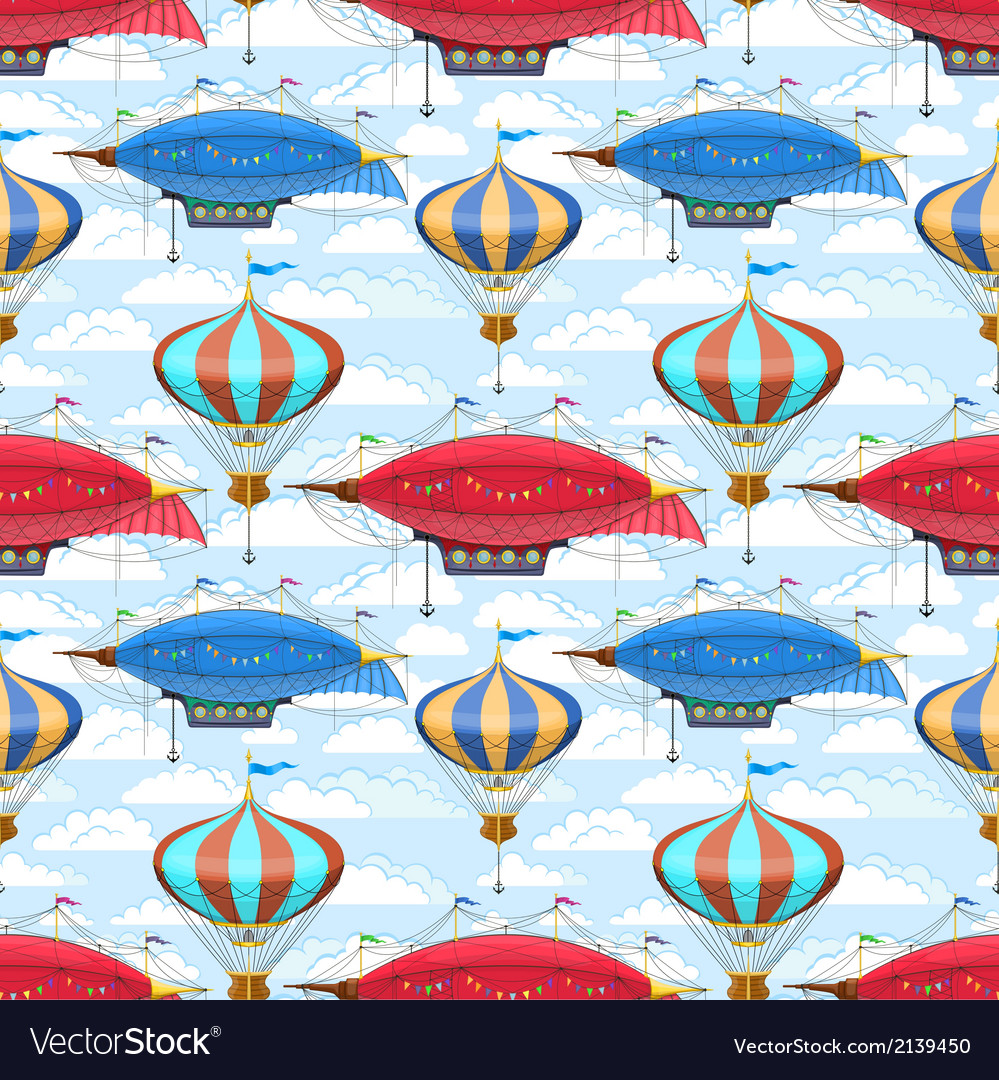 Seamless pattern with dirigibles and air balloons vector | Price: 1 Credit (USD $1)