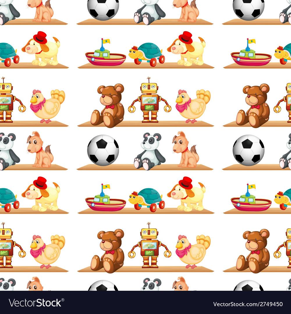 Seamless toys on shelf vector | Price: 1 Credit (USD $1)