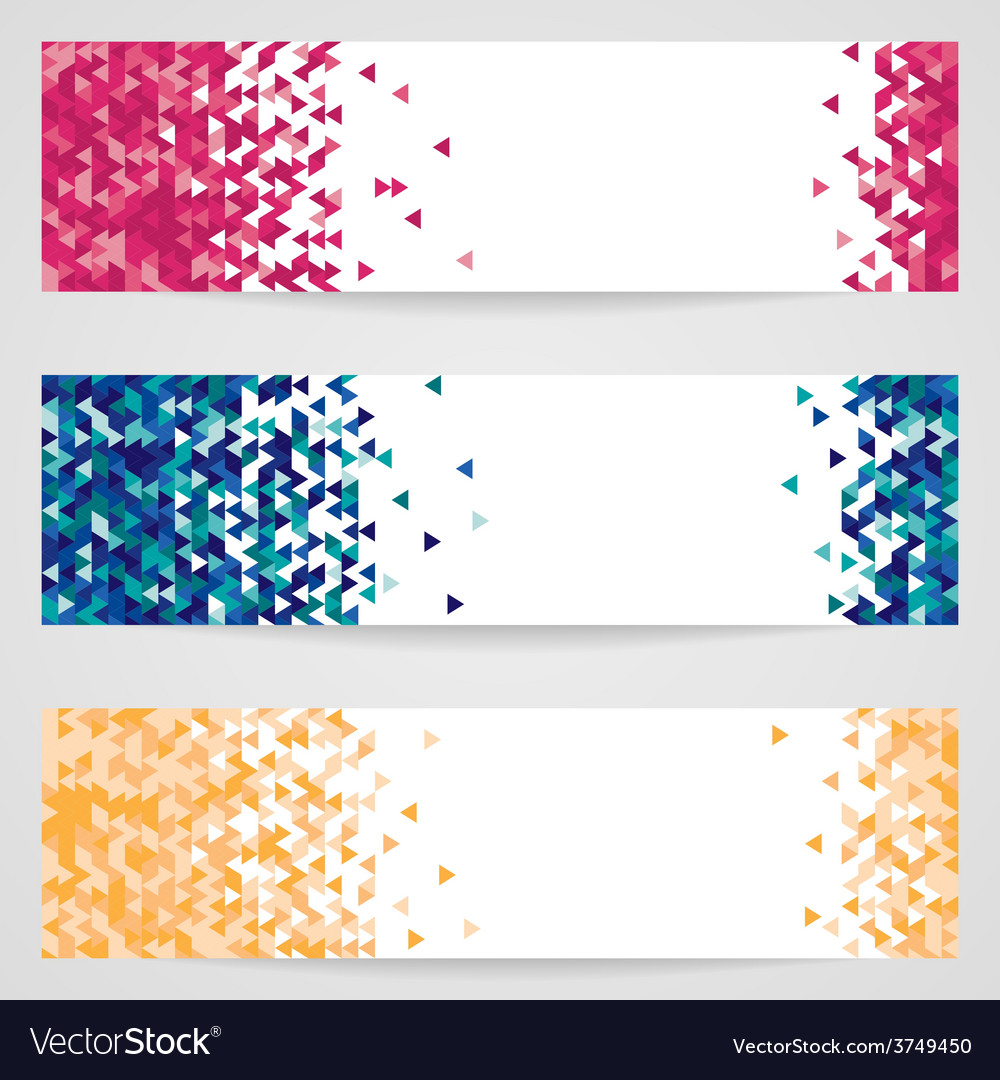Set of three banners with geometric pattern vector | Price: 1 Credit (USD $1)