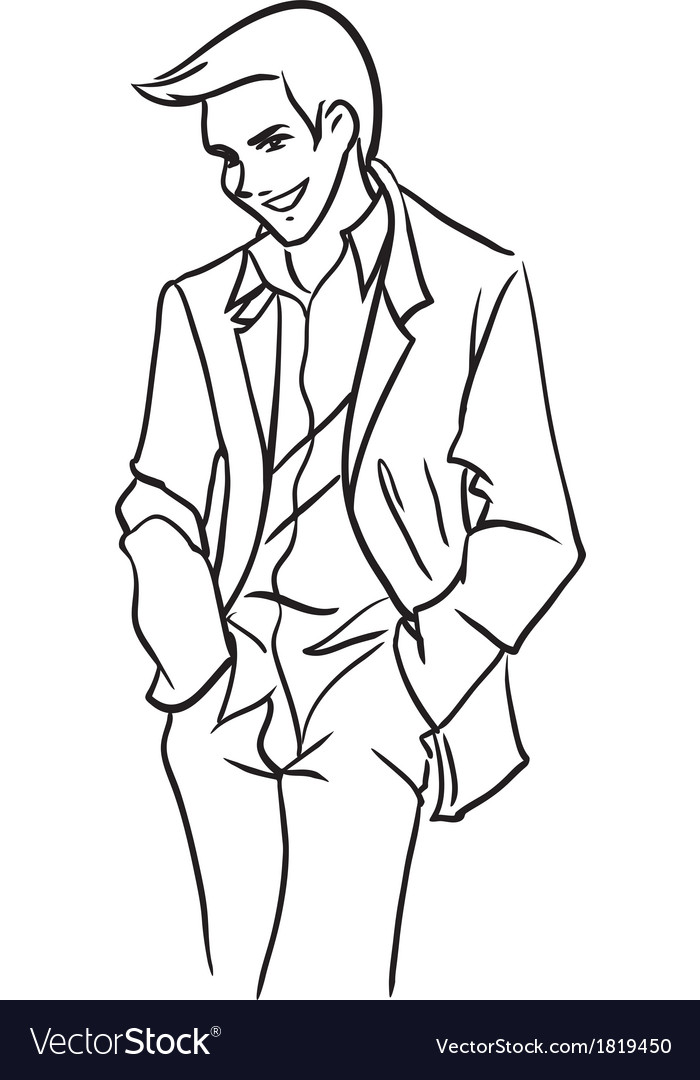 Stately bridegroom in a light jacket vector | Price: 1 Credit (USD $1)