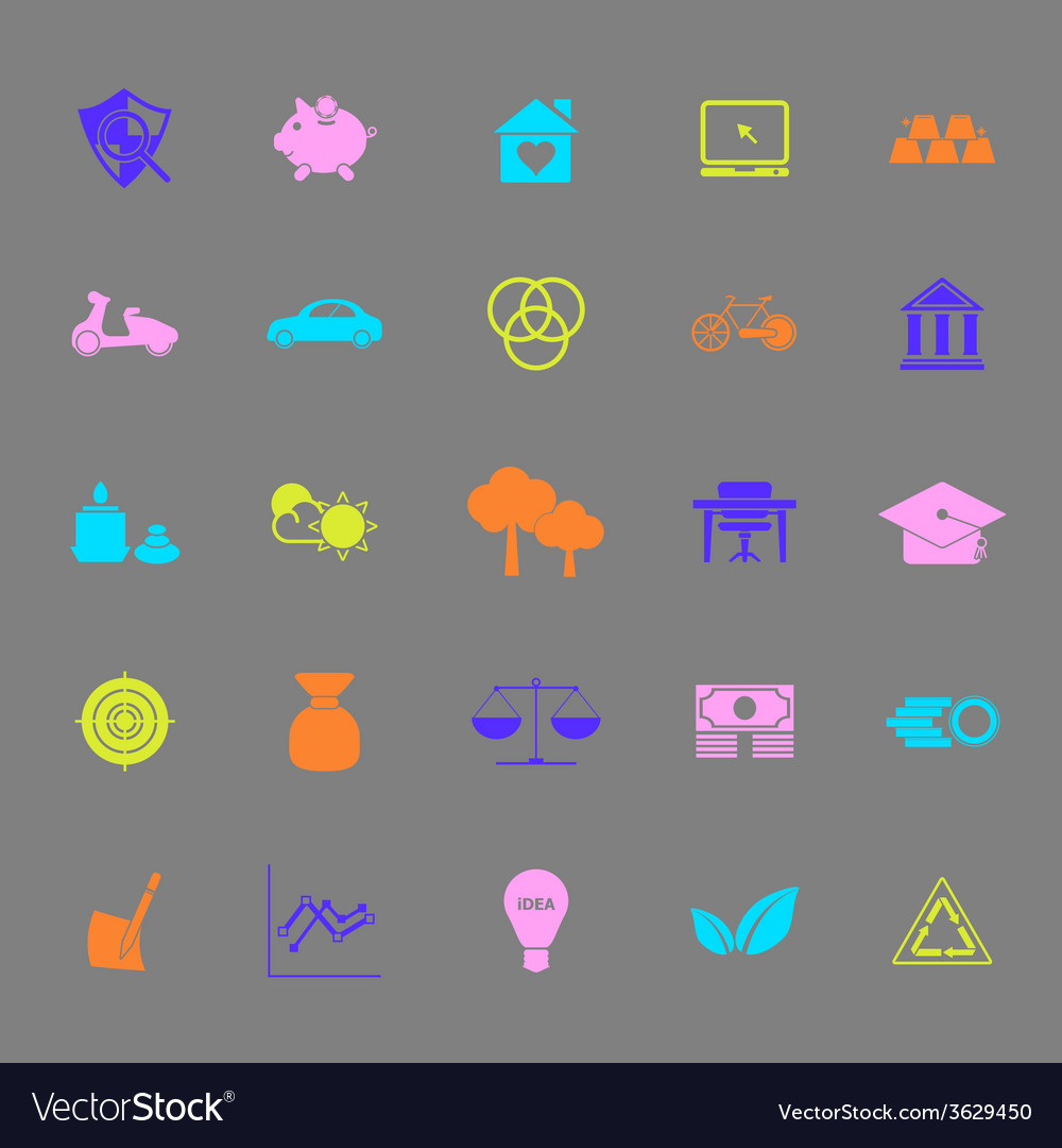 Sufficient economy color icons on gray background vector | Price: 1 Credit (USD $1)