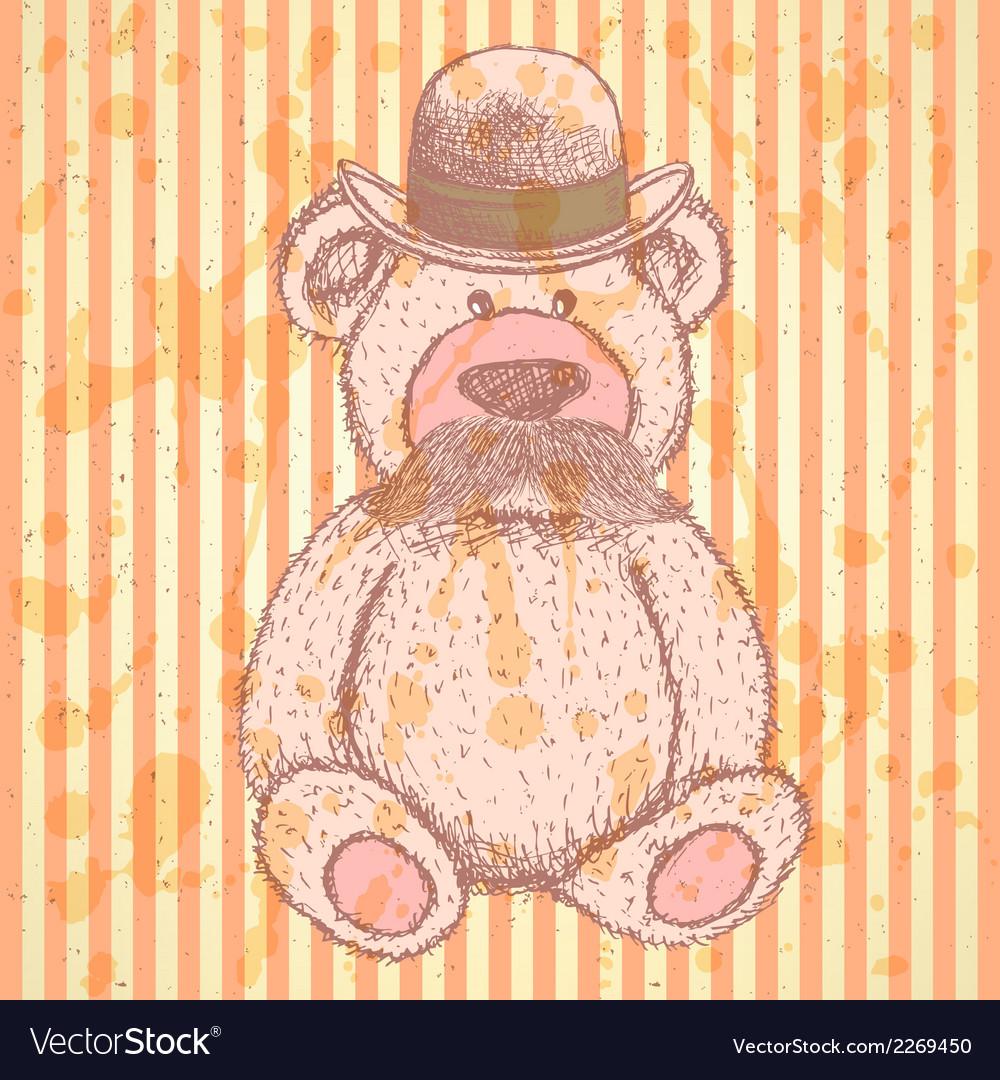 Teddy hat mustache vector | Price: 1 Credit (USD $1)
