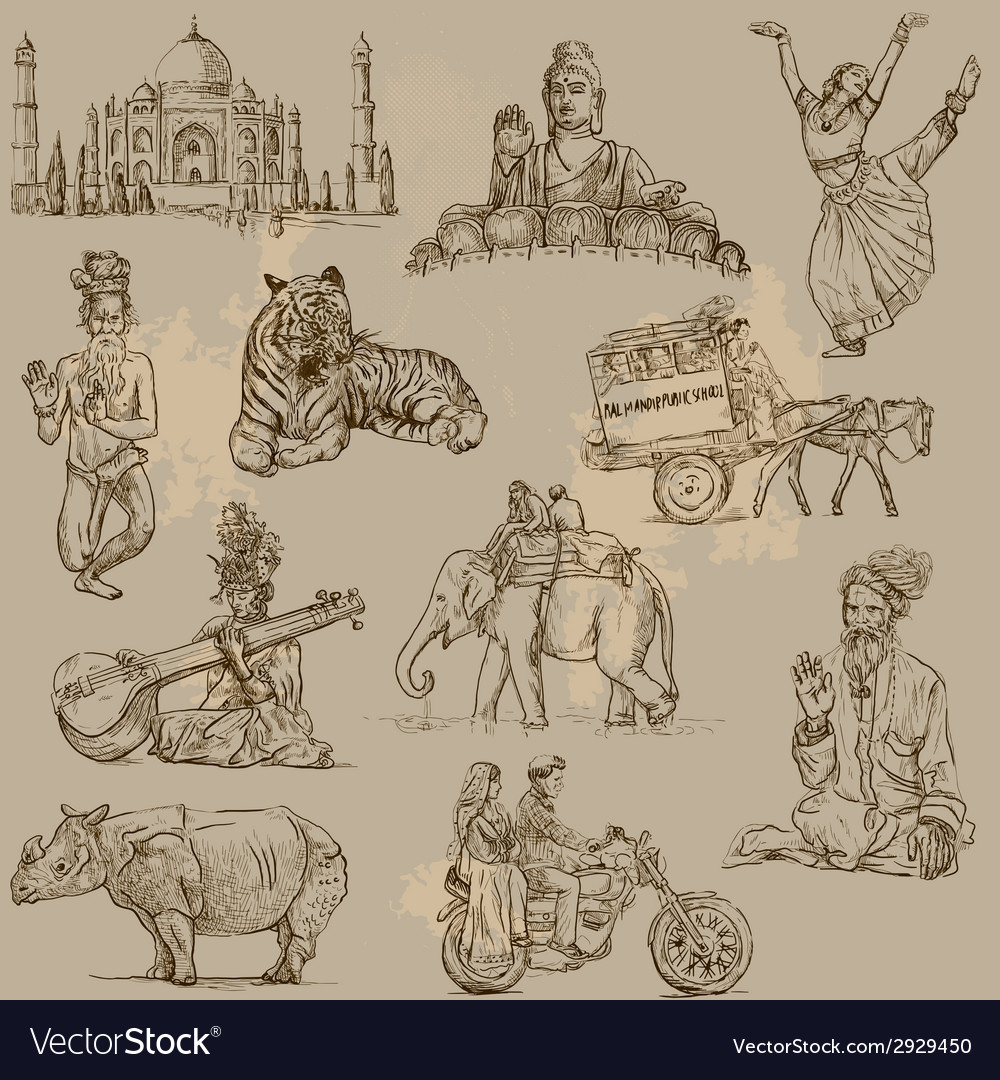 Traveling india - an hand drawn pack vector | Price: 1 Credit (USD $1)