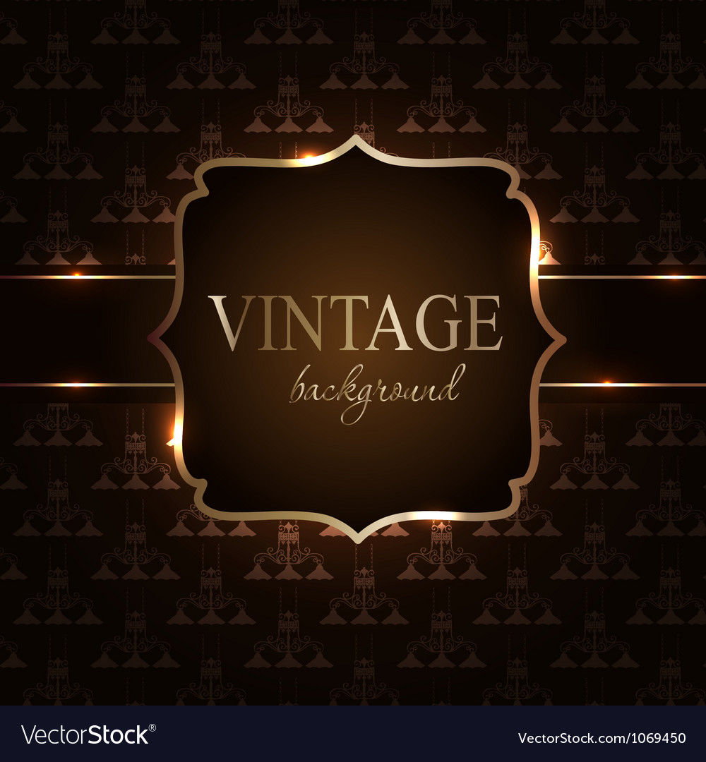 Vintage background with golden frame vector | Price: 1 Credit (USD $1)