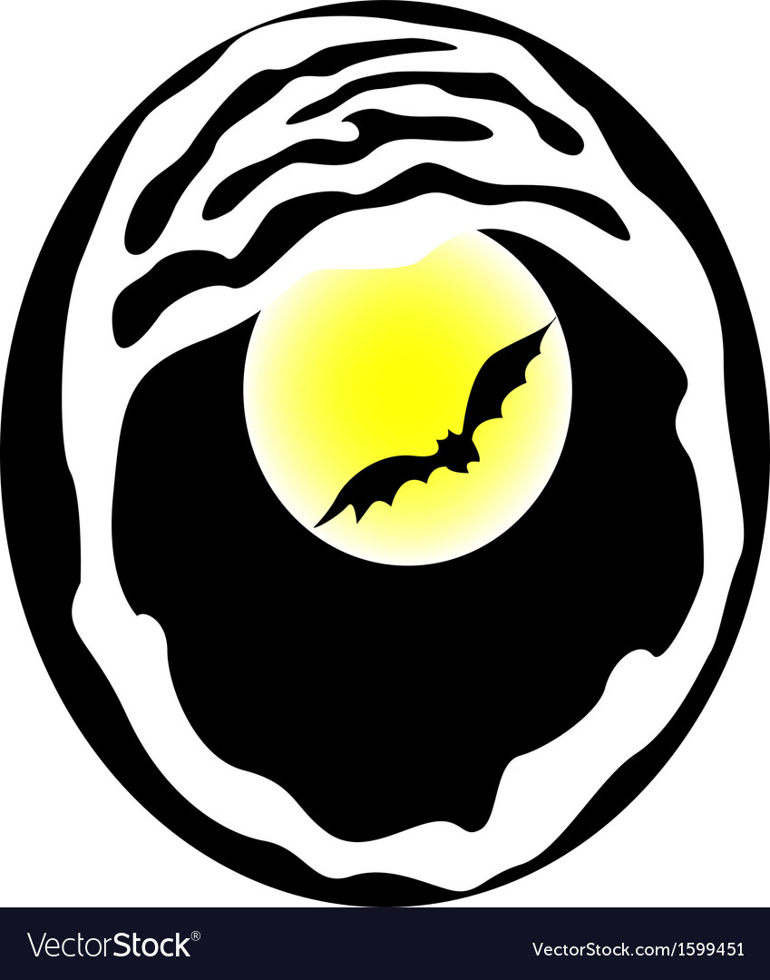 Bat on moon background vector | Price: 1 Credit (USD $1)