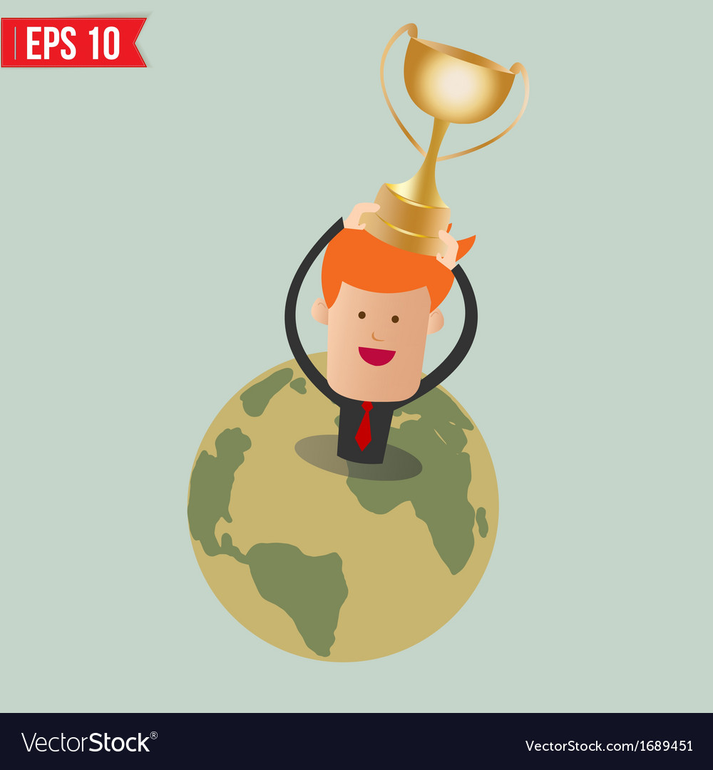 Cartoon business man hold winner cup - - eps vector | Price: 1 Credit (USD $1)