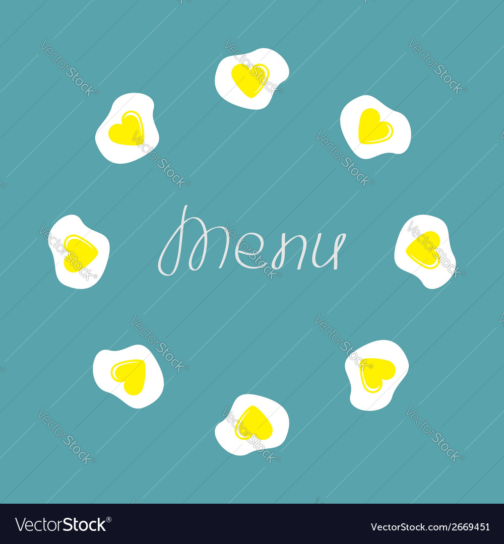 Egg round food frame menu cover flat design vector | Price: 1 Credit (USD $1)