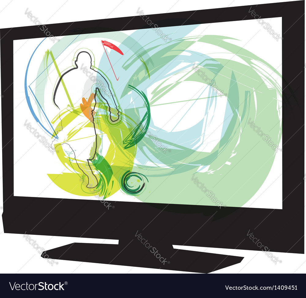 Football game on tv vector | Price: 1 Credit (USD $1)
