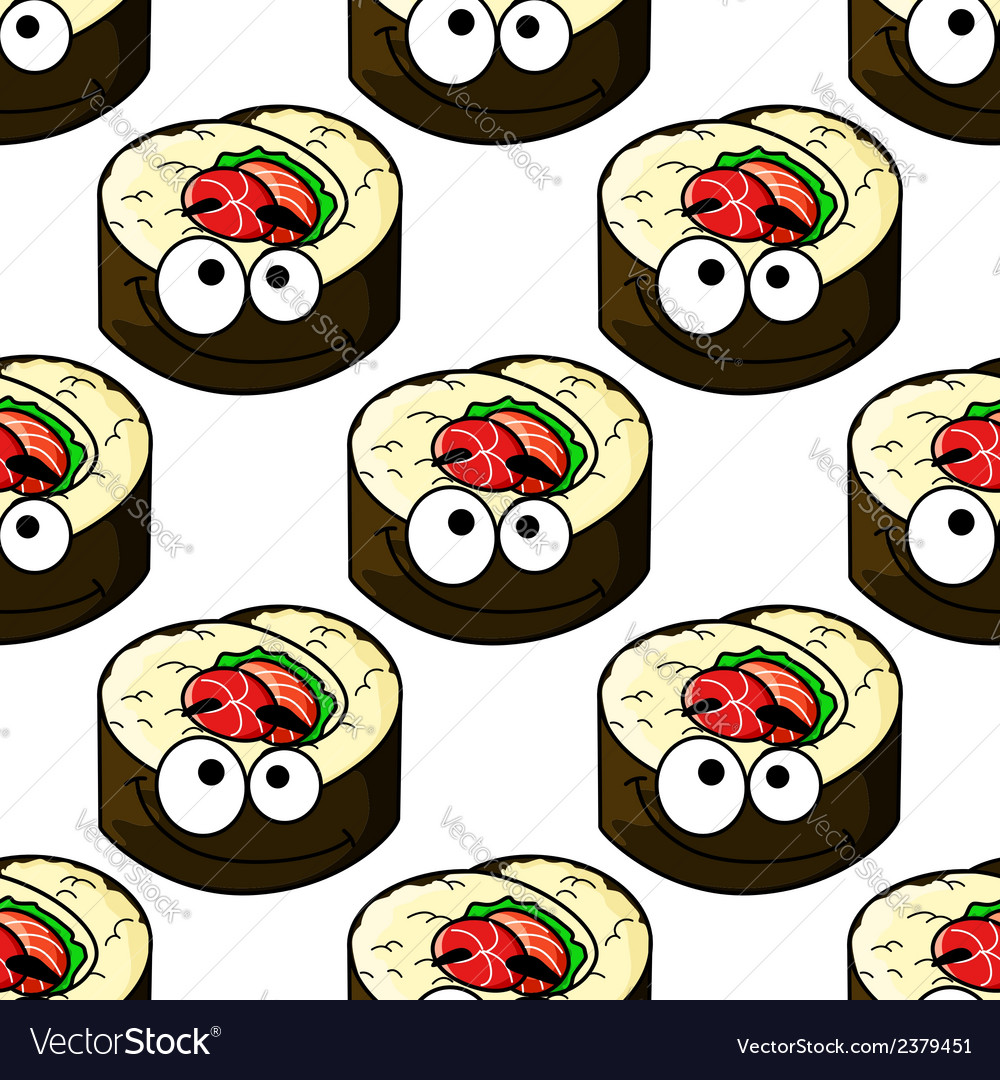 Gourmet sushi seamless pattern vector | Price: 1 Credit (USD $1)