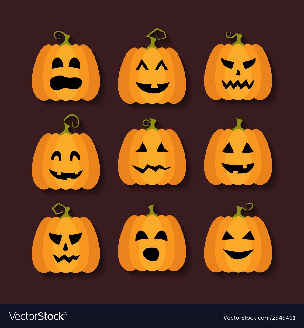 Halloween pumpkins flat icons set vector | Price: 1 Credit (USD $1)