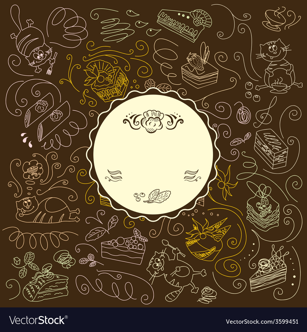 Menu template with cats and sweets vector | Price: 1 Credit (USD $1)