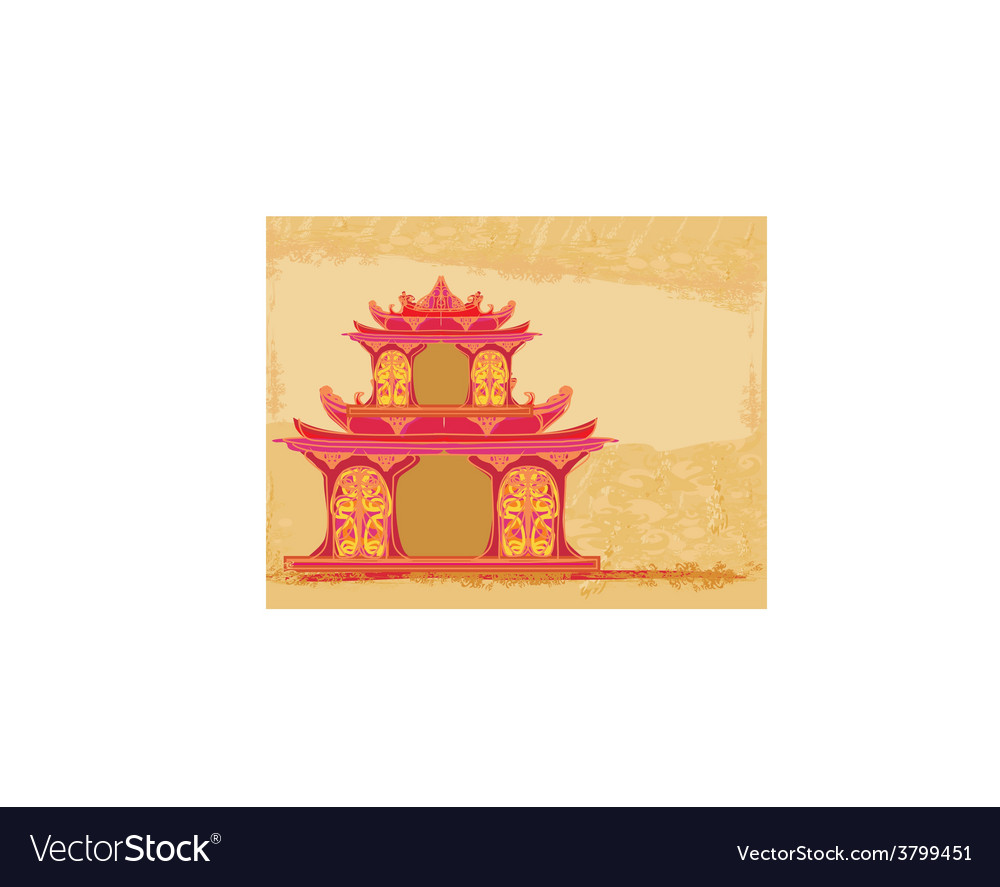 Old paper with chinese temple vector | Price: 1 Credit (USD $1)
