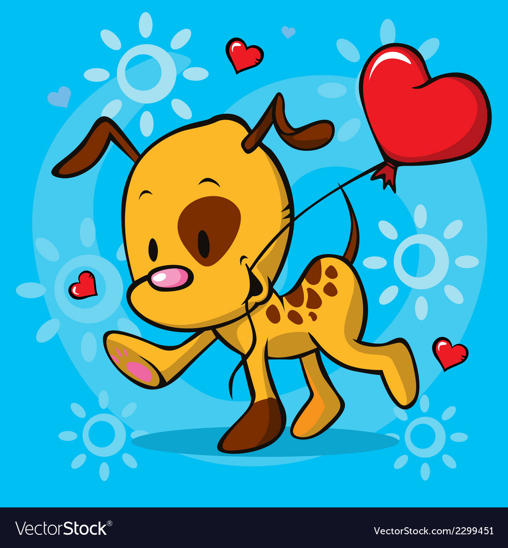 Puppy running with balloon - vector | Price: 1 Credit (USD $1)
