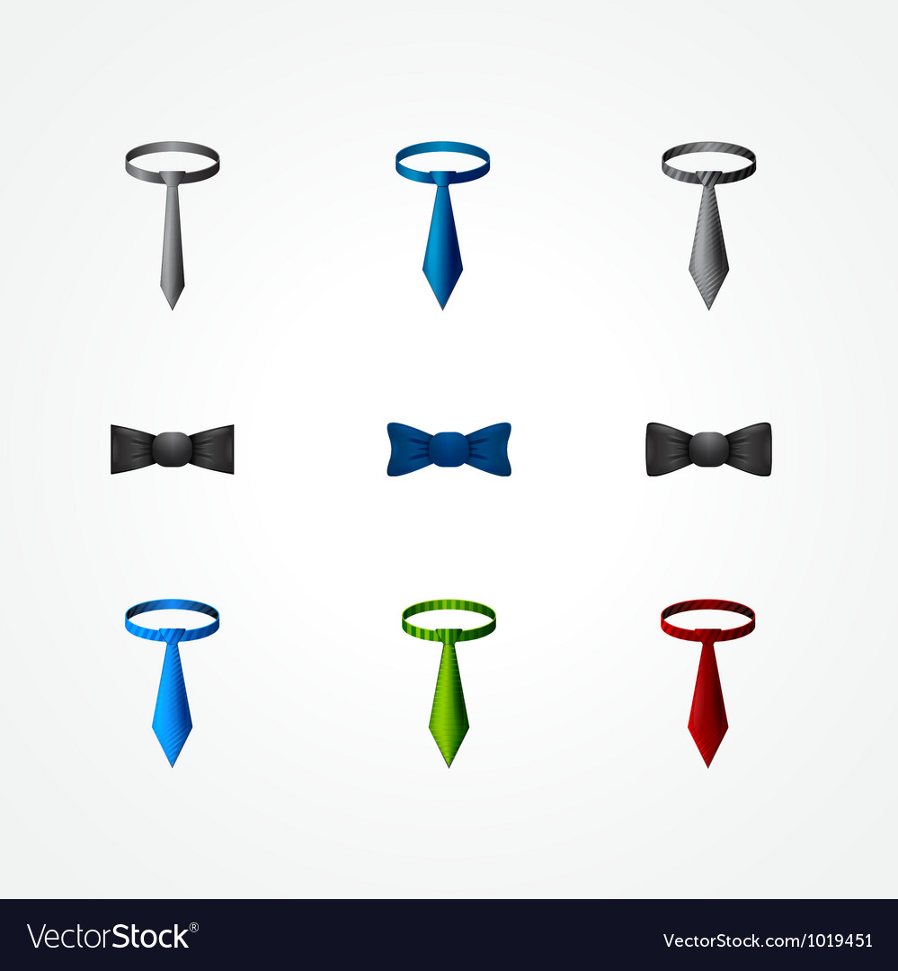 Set of a tie and bow icons vector | Price: 1 Credit (USD $1)