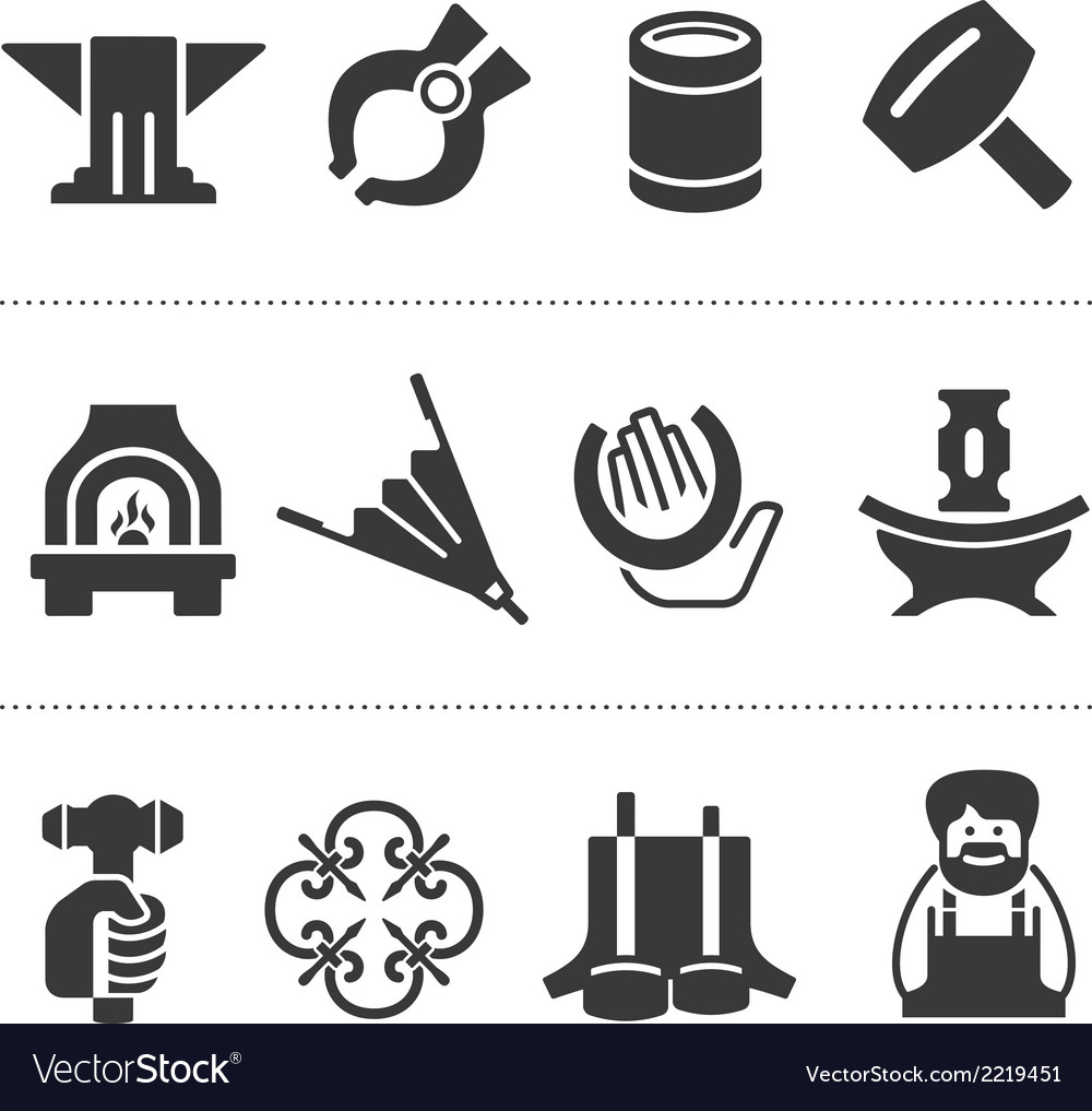 Set of blacksmithing icons vector | Price: 1 Credit (USD $1)