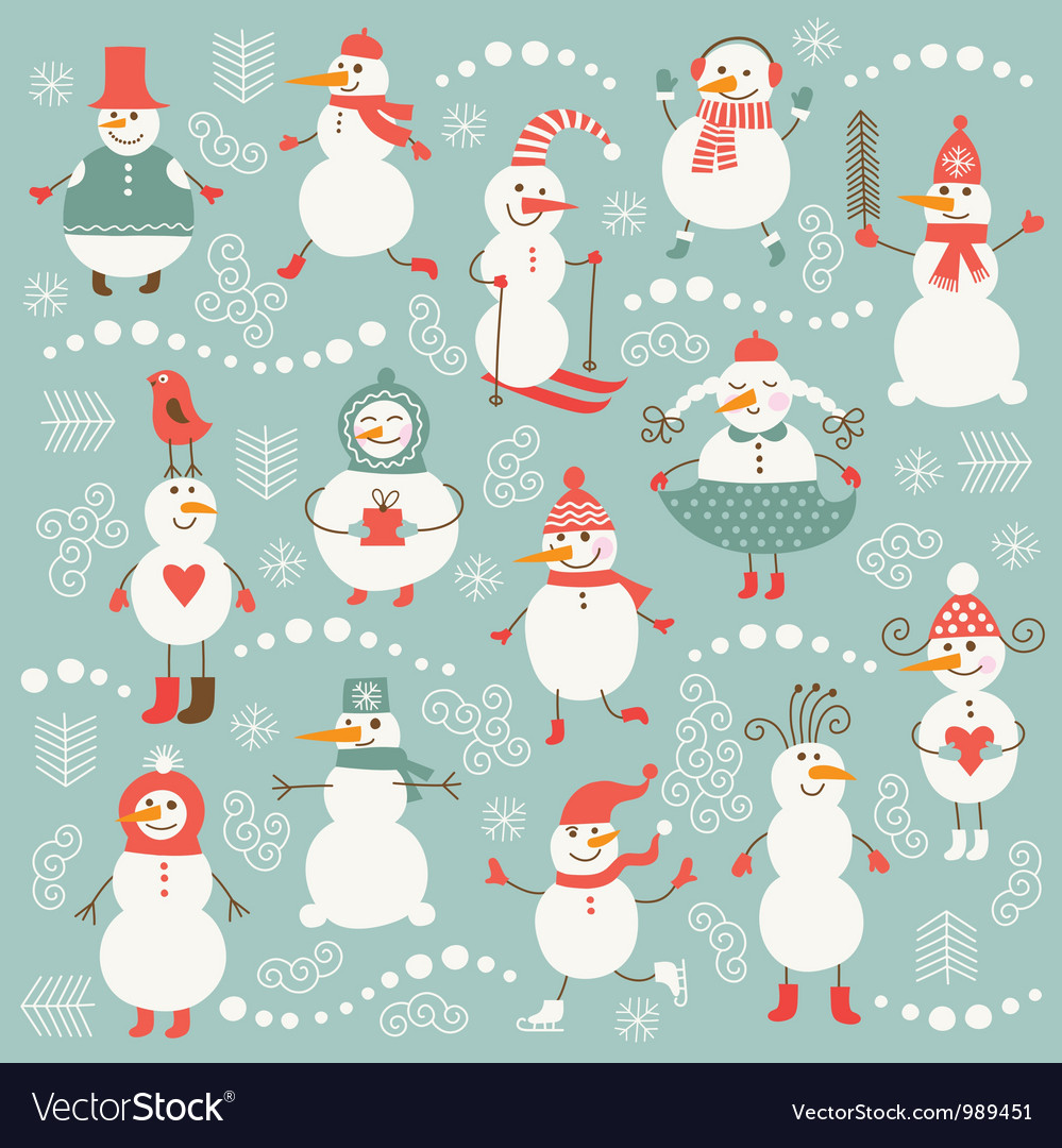 Set of cute snowmans vector