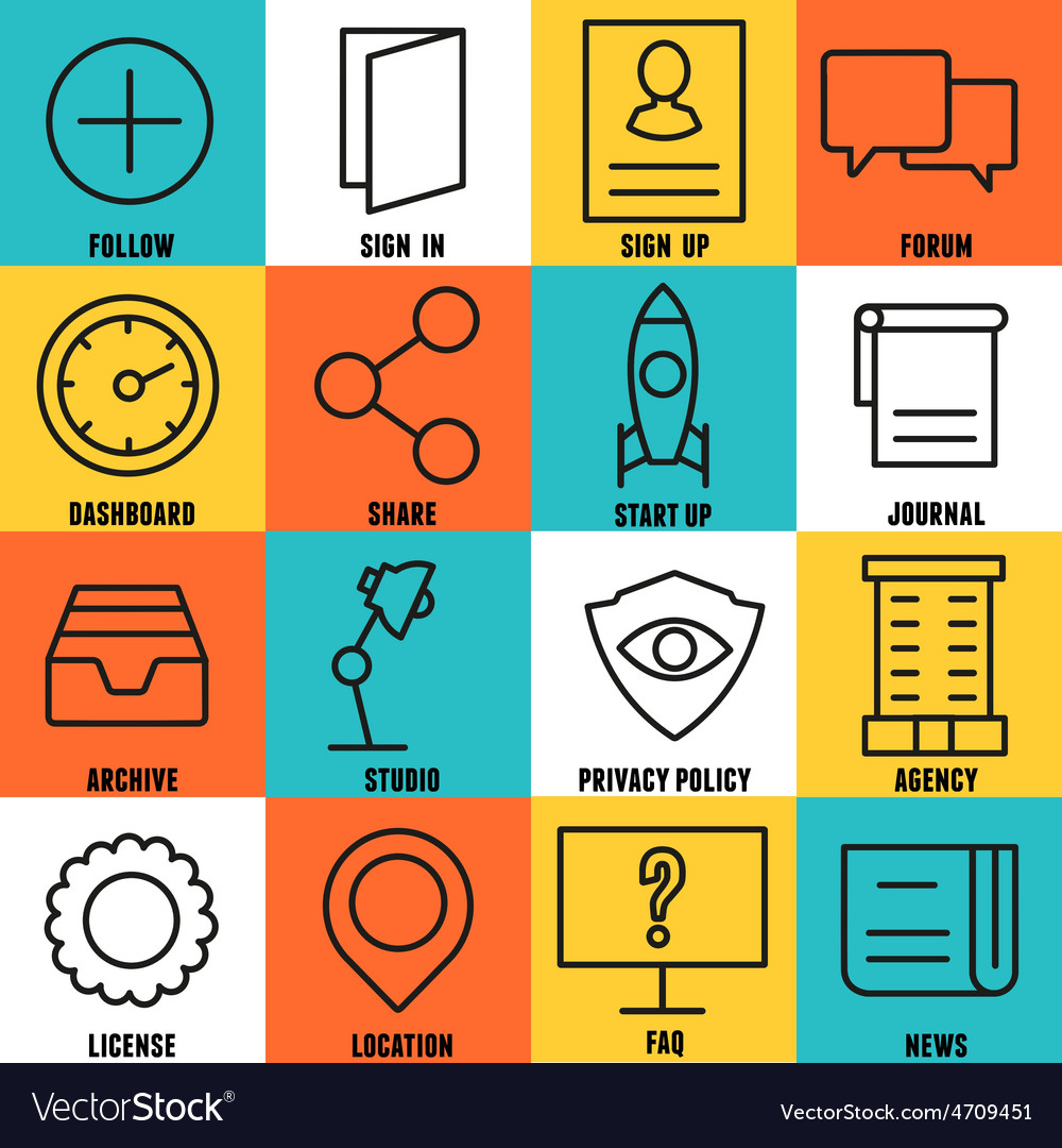 Set of linear internet service icons - part 3 vector | Price: 1 Credit (USD $1)