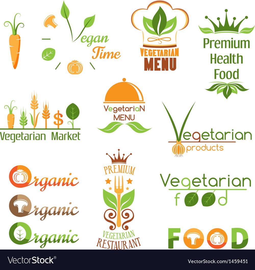 Set of vegetarian food logo vector | Price: 1 Credit (USD $1)