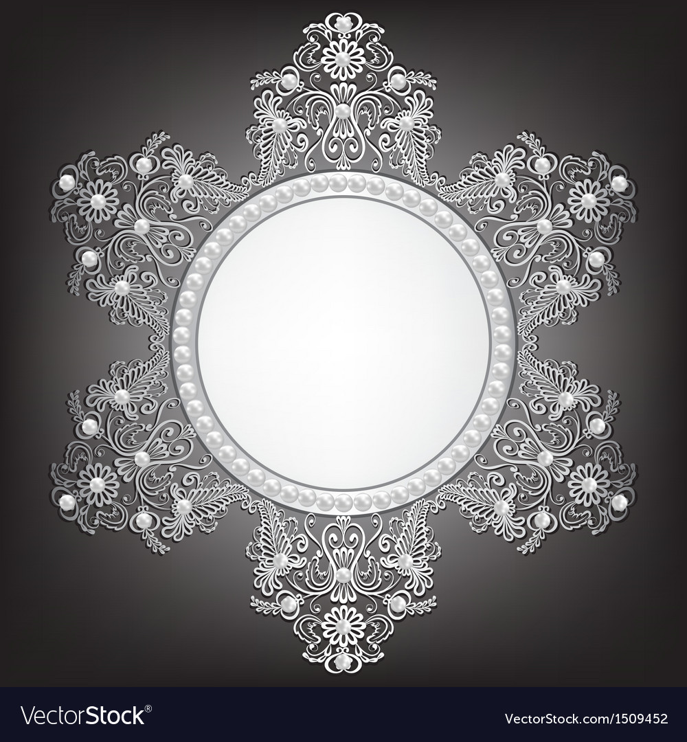 Jewelry silver frame with pearls on black vector | Price: 1 Credit (USD $1)