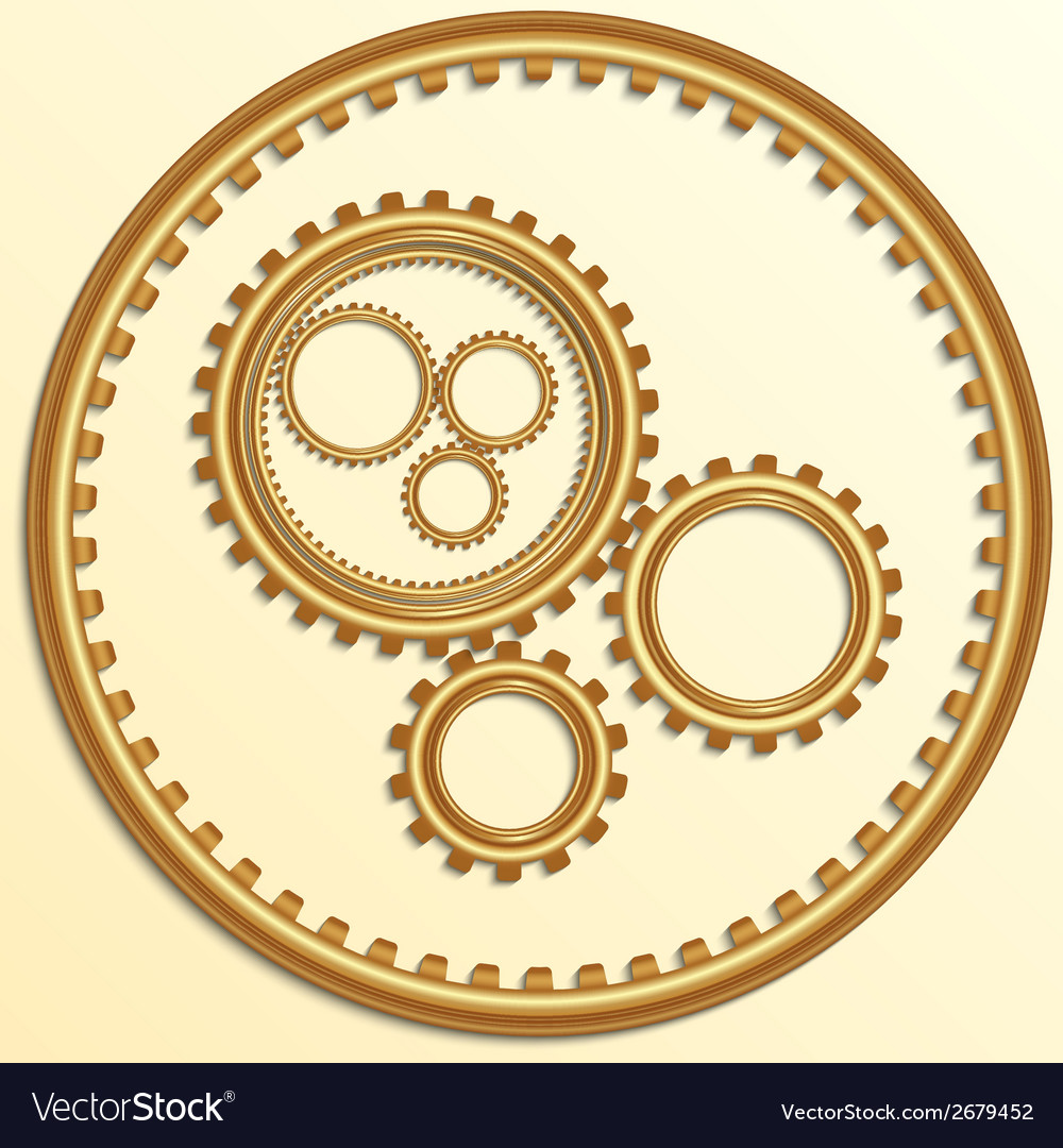 Metallic golden gear wheels vector | Price: 1 Credit (USD $1)