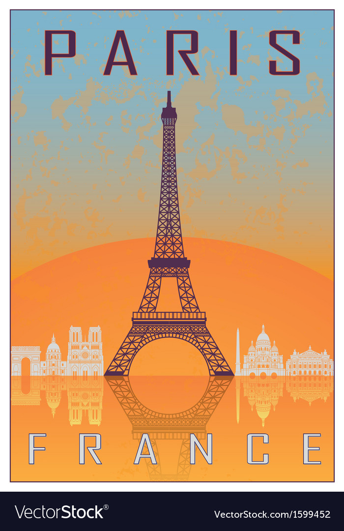 Paris vintage poster vector | Price: 1 Credit (USD $1)