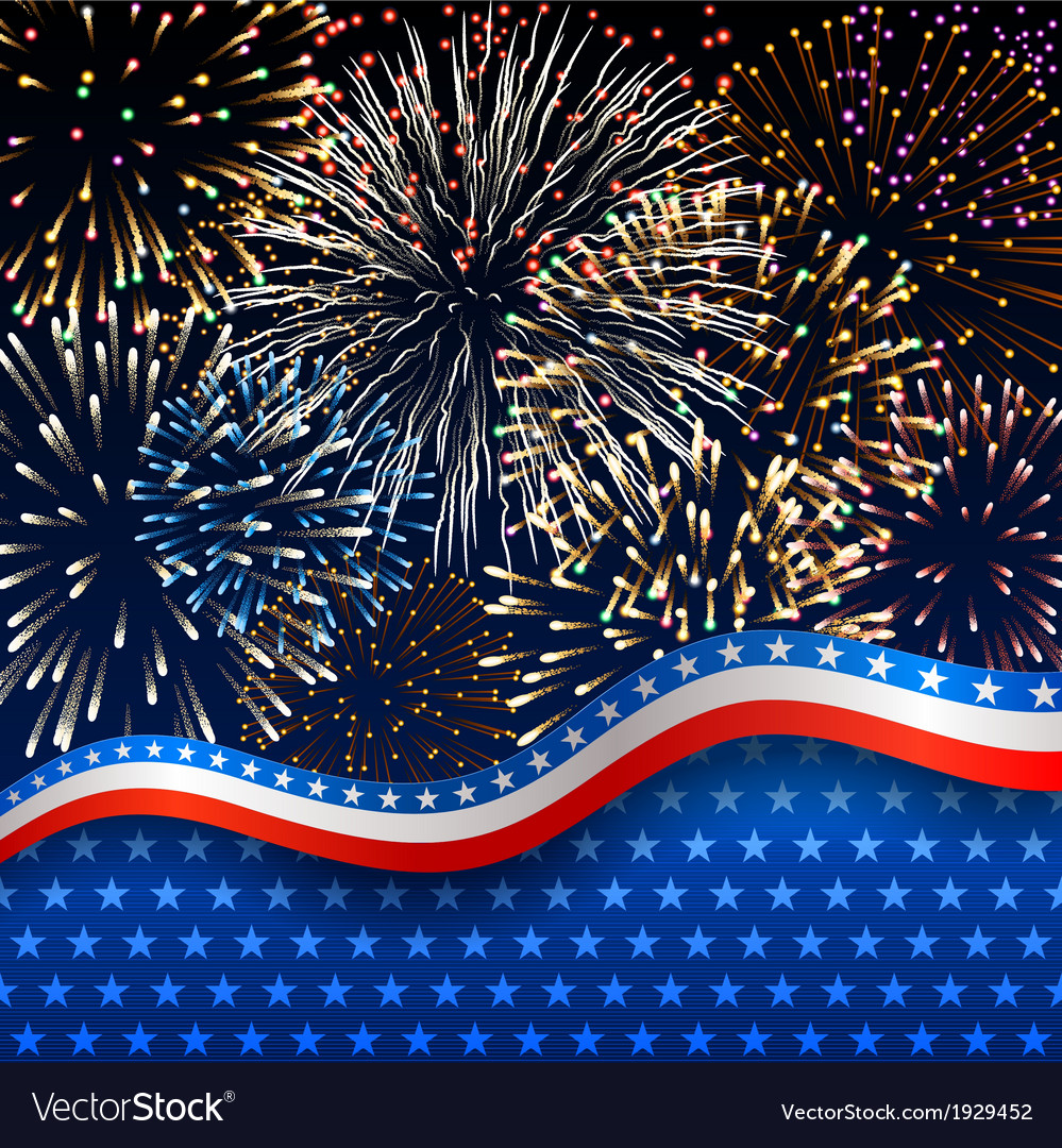 Patriotic background with fireworks vector | Price: 1 Credit (USD $1)