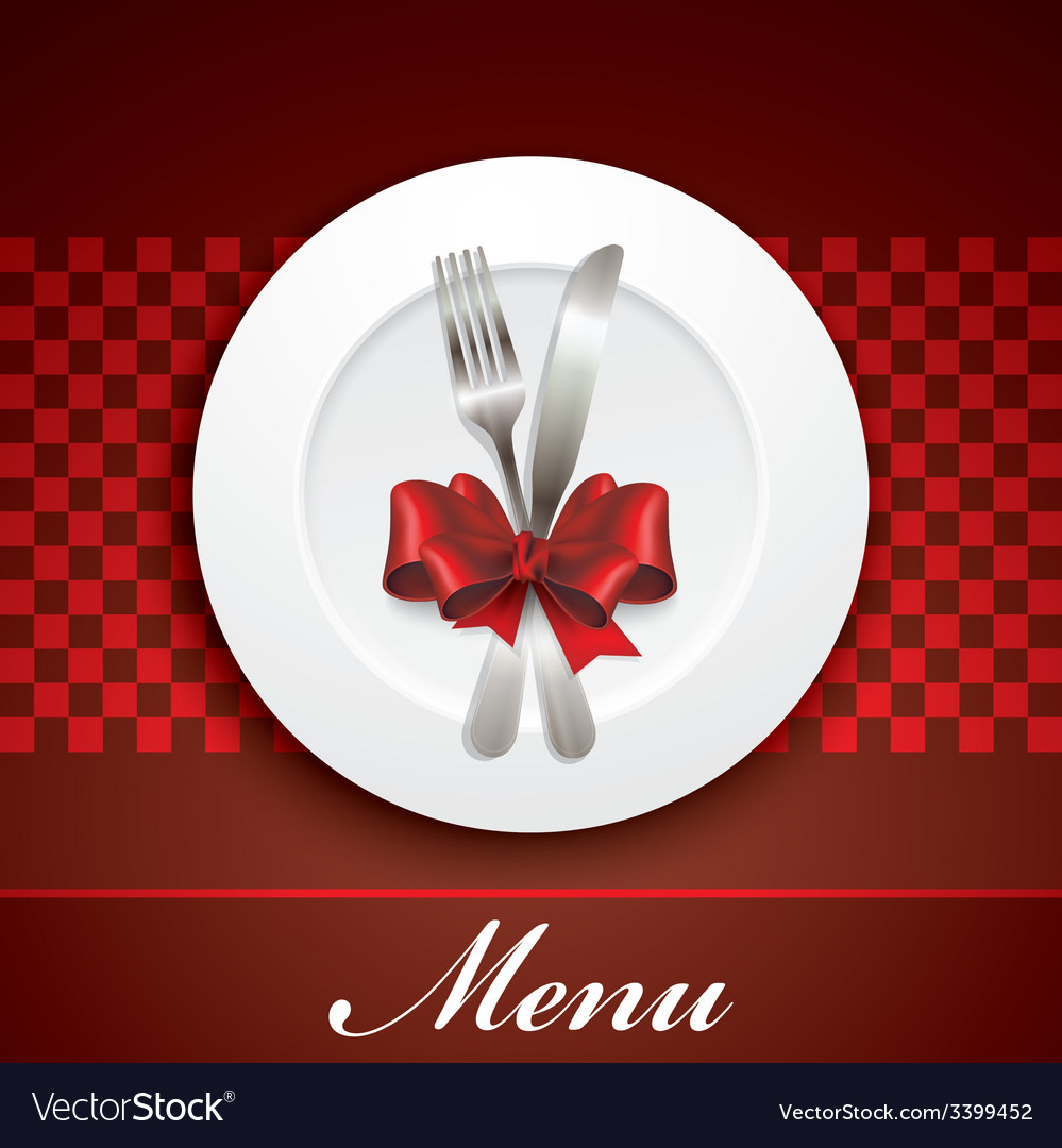 Restaurant menu design with plate and silverware vector | Price: 1 Credit (USD $1)