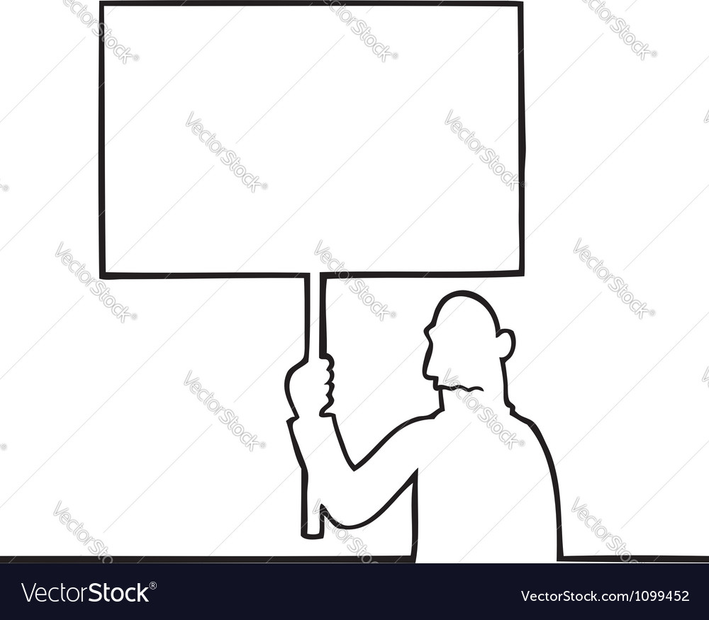 Sad man holding a protest sign vector | Price: 1 Credit (USD $1)
