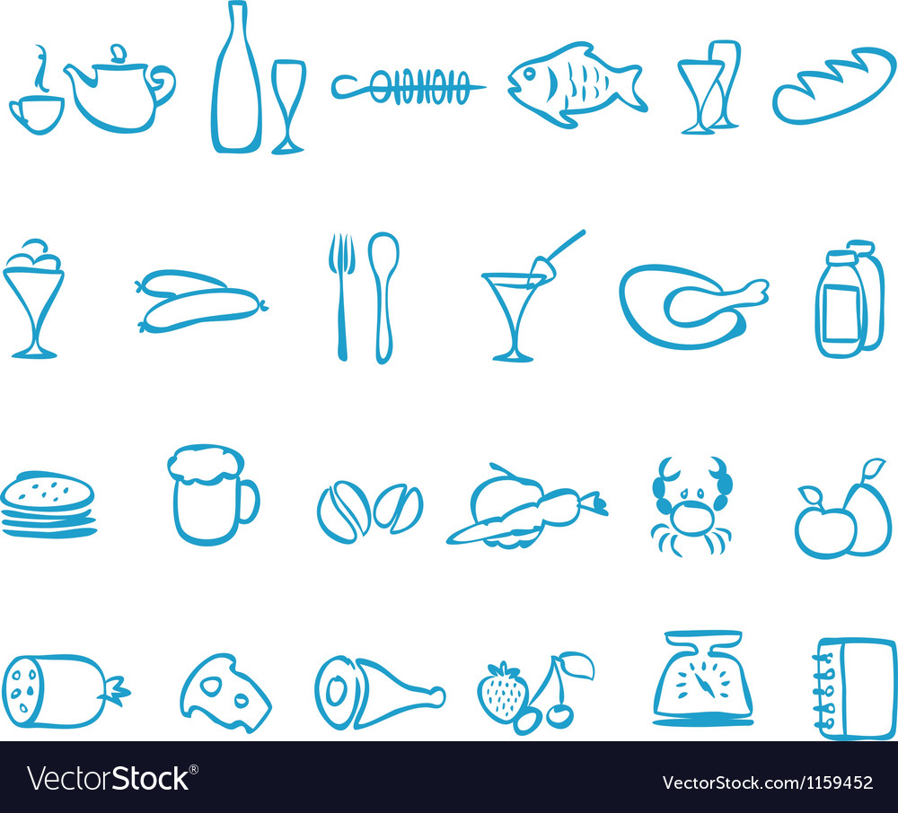 Set handwork icons food vector | Price: 1 Credit (USD $1)